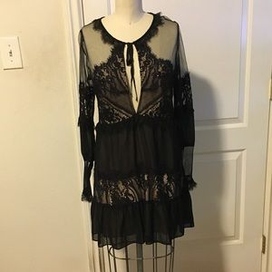 For Love and Lemons Black Lace and Chiffon Mini M